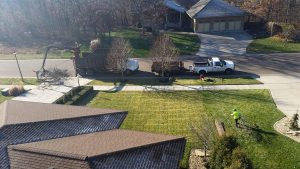 Arial view of grapple arm loading branches into truck