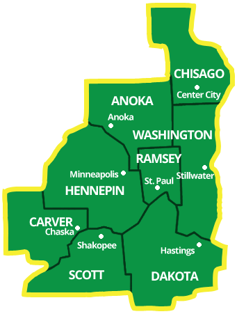Map of Twin Cities Service Area